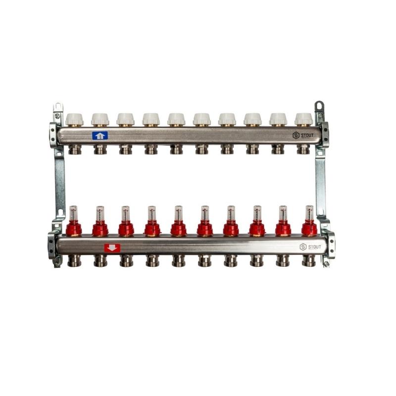 Коллектор из нержавеющей стали с расходомерами 10 вых арт.:SMS 0917 000010 STOUT