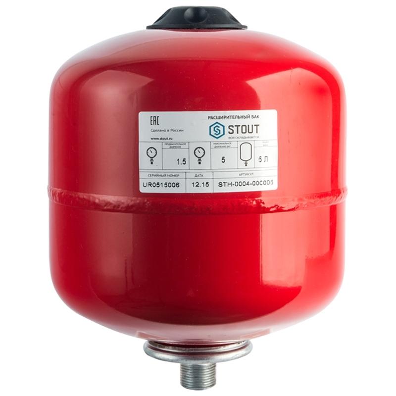 Расширительный бак экспанзомат для систем отопление 5 л красного цвета арт.: STH-0004-000005 STOUT Хабаровск