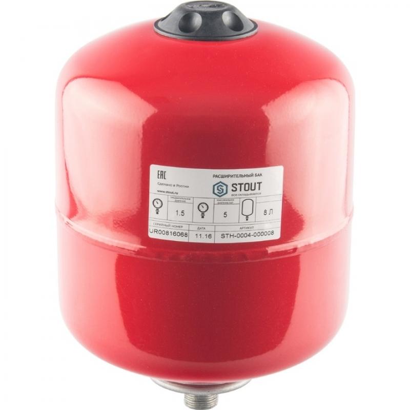 Расширительный бак на отопление 8 л. (цвет красный) арт.: STH-0004-000008 STOUT