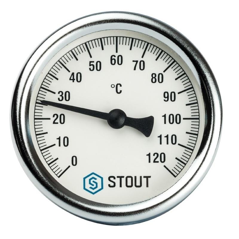 """Термометр биметаллический с погружной гильзой. Корпус Dn 63 мм, гильза 50 мм 1/2"""" арт.:SIM-0001-635015 STOUT"""
