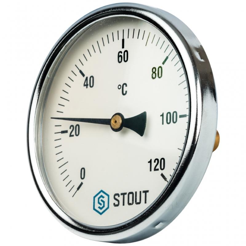 """Термометр биметаллический с погружной гильзой. Корпус Dn 100 мм, гильза 50 мм 1/2"""" арт.:SIM-0001-105015 STOUT"""