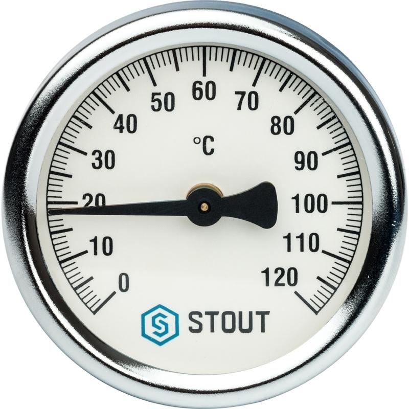 Термометр биметаллический накладной Корпус 63мм 120С арт.:SIM-0004-630015 STOUT