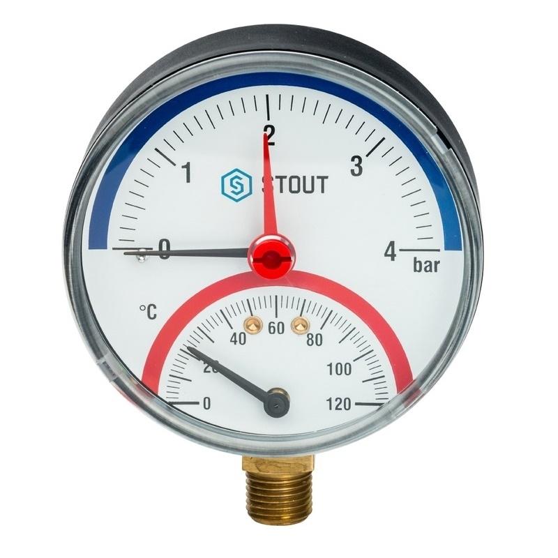 """Термоманометр радиальный с автоматическим запорным клапаном. Корпус Dn 80 мм 1/2"""" 4 бар арт.: SIM-0006-800415 STOUT"""