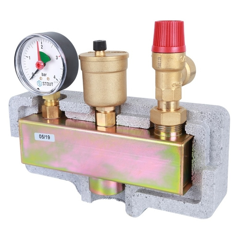 Группа безопасности котла  (до 50 кВт) (в теплоизоляции) арт. : SVS-0004-055032 STOUT