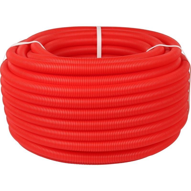 Труба гофрированная ПНД, цвет красный, наружным диаметром 20 мм для труб диаметром 14-18 мм арт. SPG-0002-502016 STOUT
