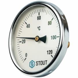 """Термометр биметаллический с погружной гильзой. Корпус Dn 80 мм, гильза 50 мм 1/2"""" арт.:SIM-0001-805015 STOUT"""