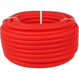 Труба 32 мм гофрированная ПНД цвет красный,  для труб диаметром 25 мм