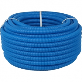 Труба 25 мм гофрированная ПНД, цвет синий для труб диаметром 18-22 мм